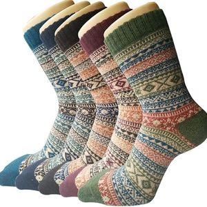 5 Pair Thick Wool Blend Socks